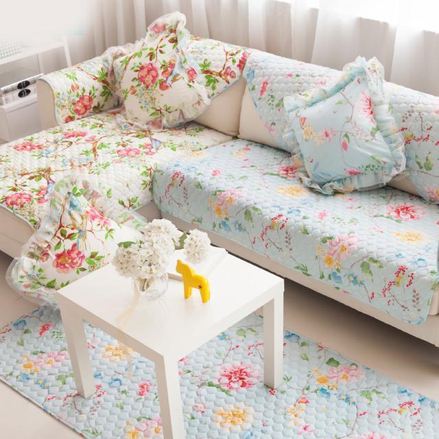 老婆给家里换了沙发套,客厅大变样,春意盎然也不过是如此
