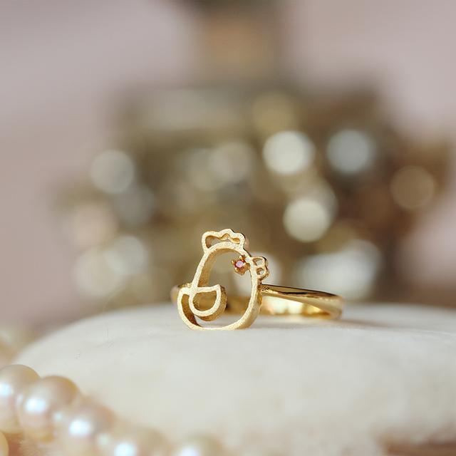 925银镀24K金戒指生肖鸡指环