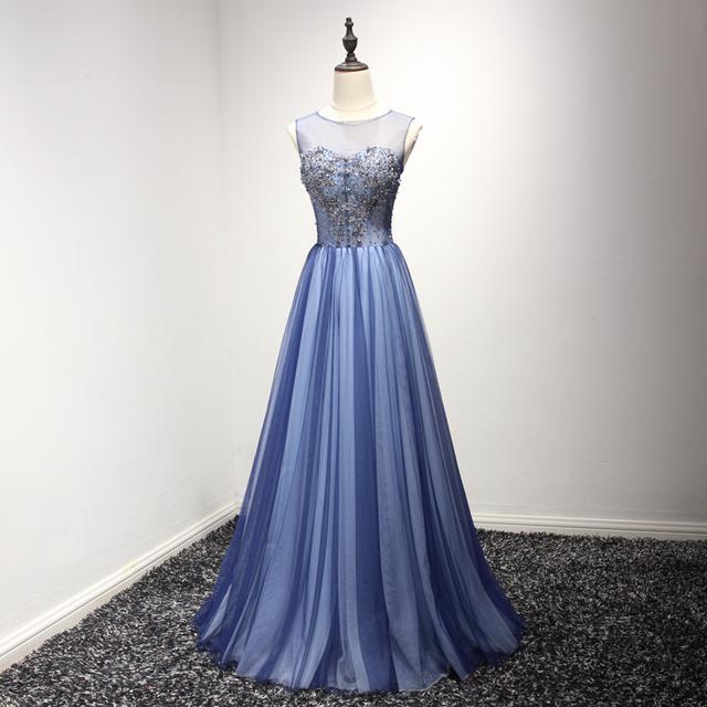 蓝色长款宴会敬酒礼服