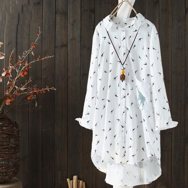 宽松印花纯棉白衬衫