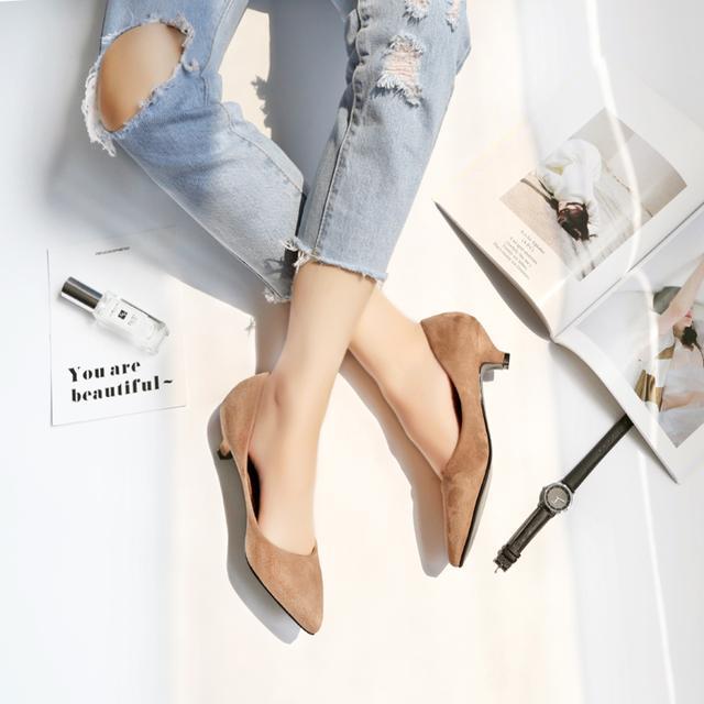 2017新款女鞋低跟单鞋