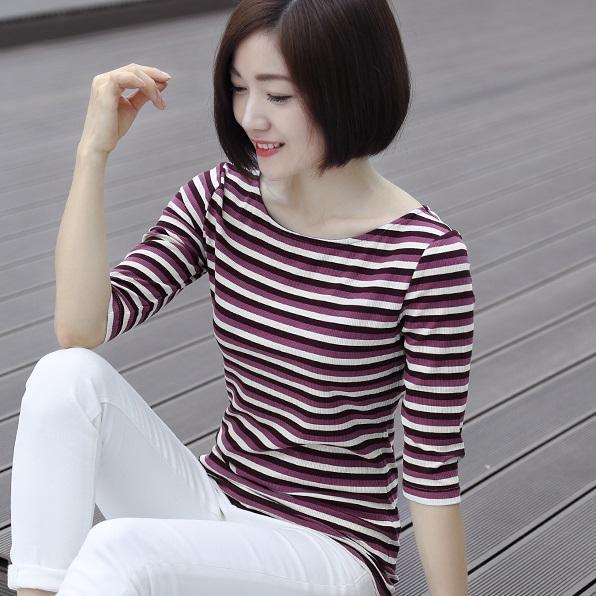 一字领纯棉条纹t恤