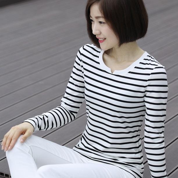 莫代尔棉海军风条纹t恤