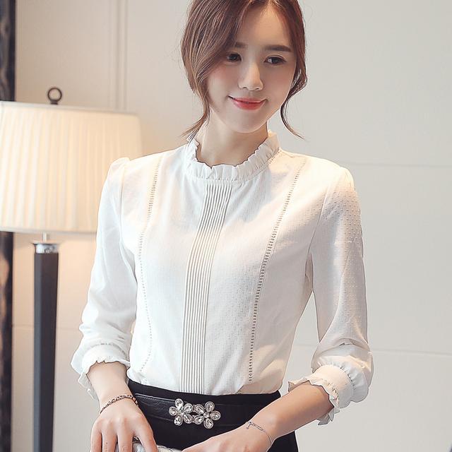 立领花边雪纺白色衬衫
