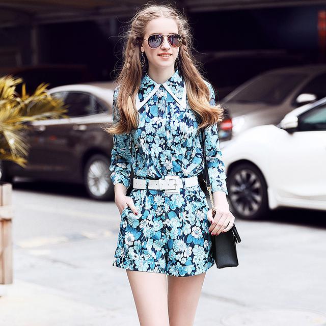 印花衬衫+阔腿短裤时尚套装