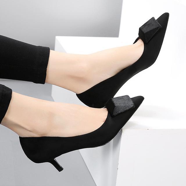 OL黑色通勤中跟女鞋