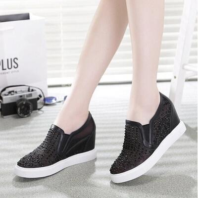 内增高水钻透气网鞋平底鞋