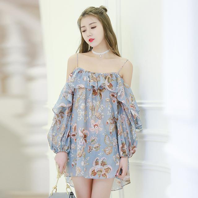 2017新款波西米亚荷叶边连衣裙