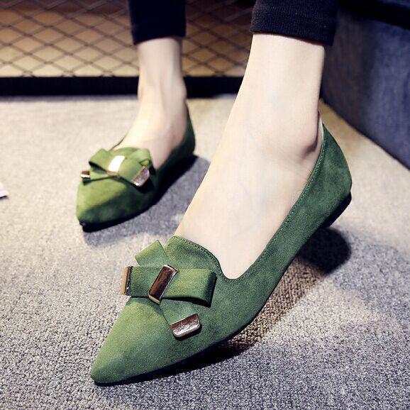 春季新款韩版尖头平底鞋
