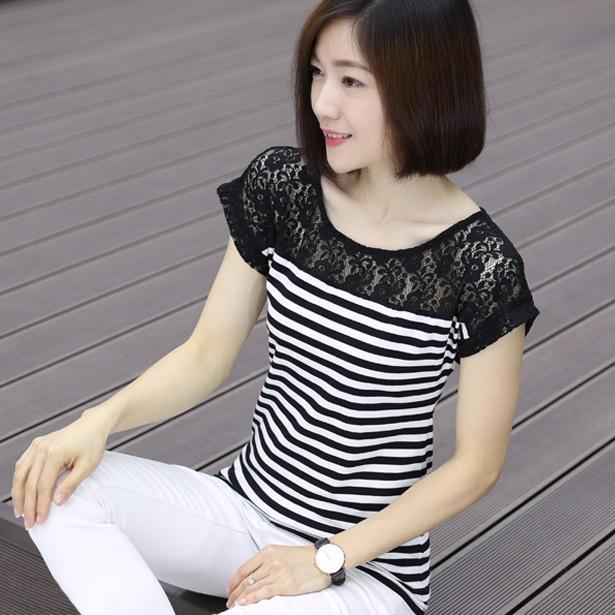 蕾丝拼接条纹纯棉T恤