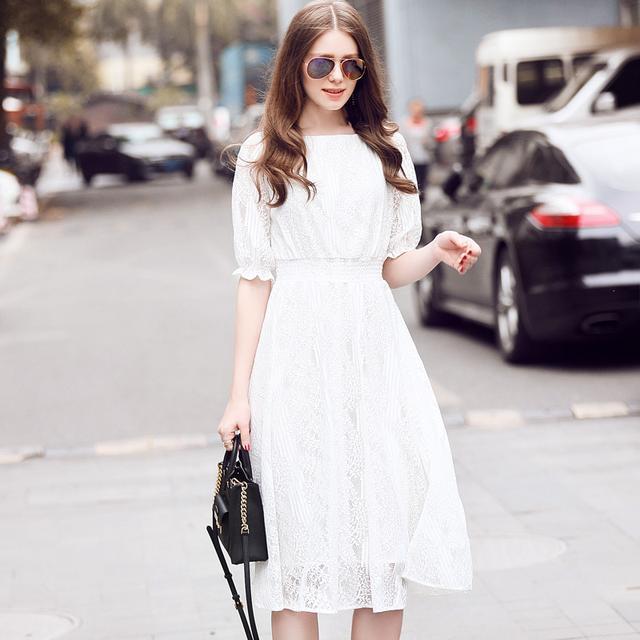 中长款蕾丝连衣裙