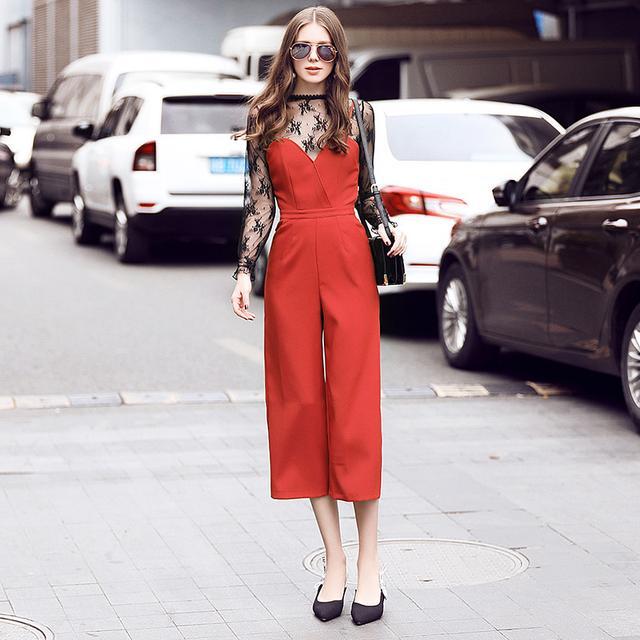 优雅蕾丝衫+阔腿连体裤时尚套装