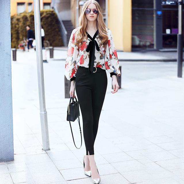 丝绒系带花朵衬衣+小脚裤时尚套装