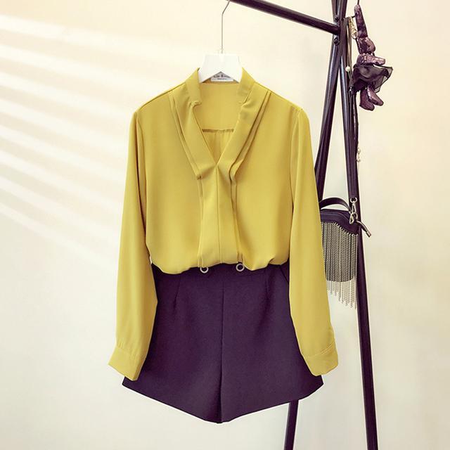 纯色V领雪纺衬衫