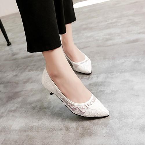 夏款蕾丝低跟女单鞋