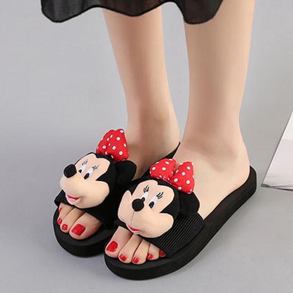 米妮卡通一字拖鞋