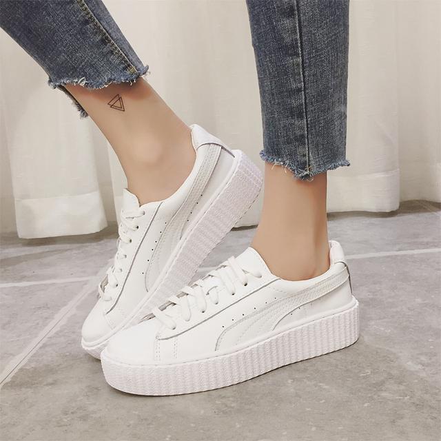 蕾哈娜同款真皮小白鞋