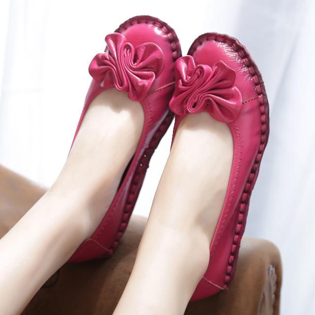 妈妈鞋真皮软底女单鞋