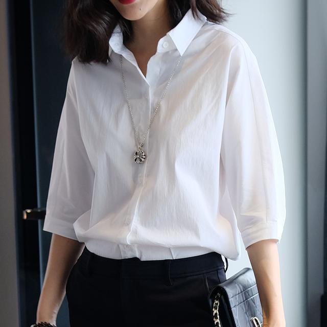 舒适落肩袖白衬衫