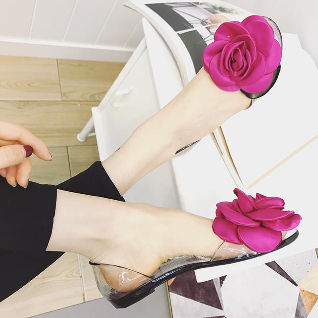罗马透明果冻鞋花朵