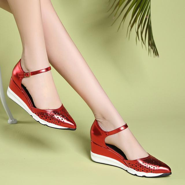 夏季新款坡跟包头凉鞋