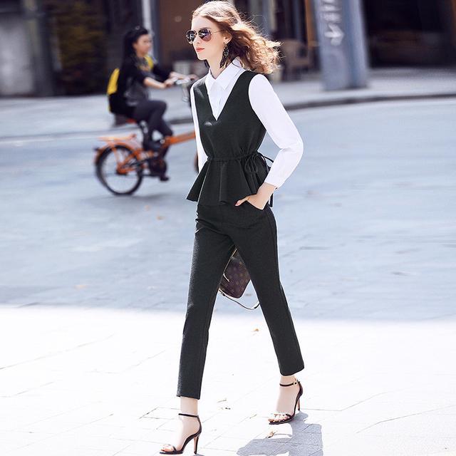 假两件荷叶摆上衣+小脚裤时尚套装