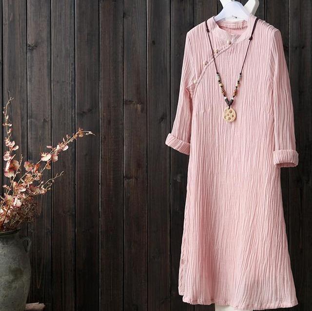 中国风修身棉麻连衣裙