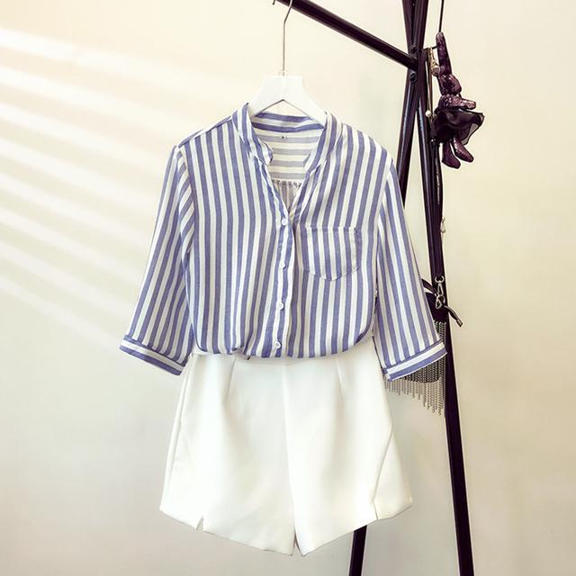 条纹雪纺衬衫