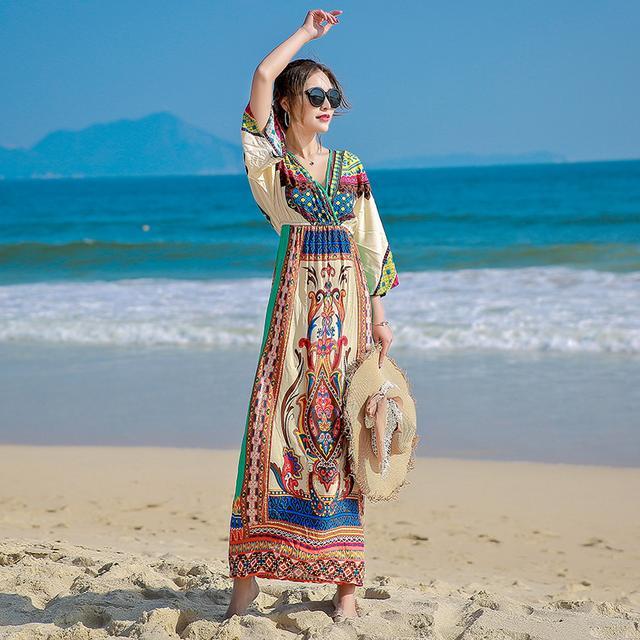 波西米亚印花海边沙滩裙