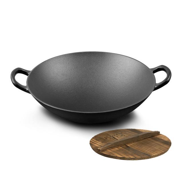 高档奢华手工铸铁锅,环保健康无涂层,是一口好炒锅