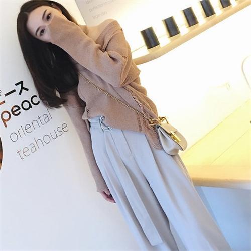 钱夫人韩版学生显瘦高腰阔腿裤