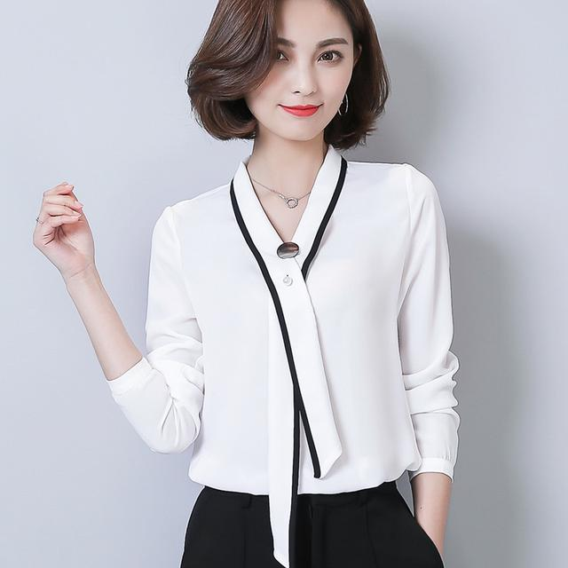 系带V领OL白衬衫