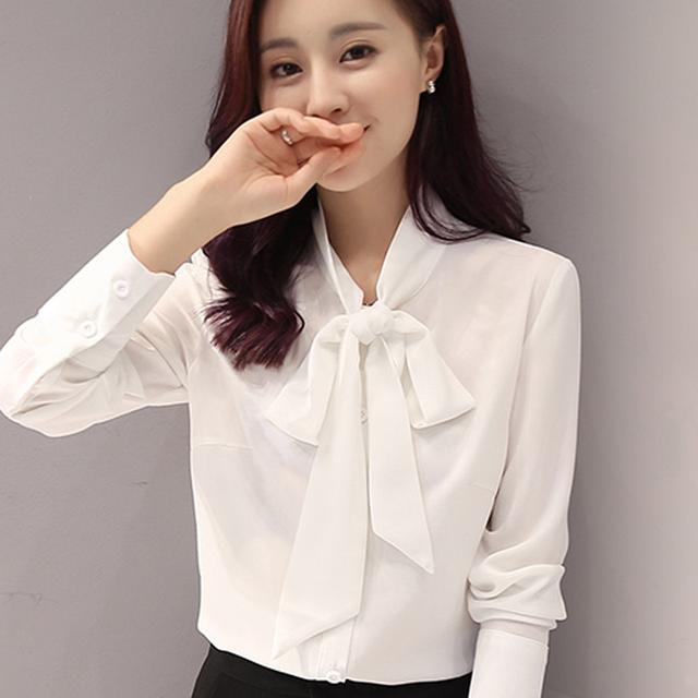 蝴蝶结新款白衬衫