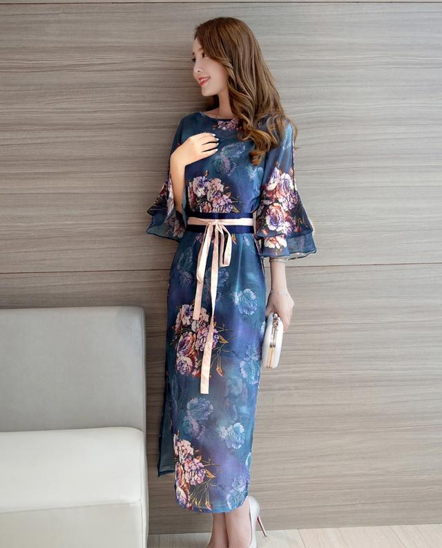 民族风荷叶袖印花旗袍式长裙