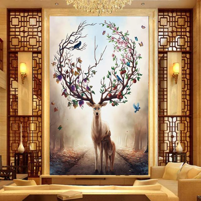 钻石画装饰玄关走廊,奢华又靓丽,比十字绣更夺目