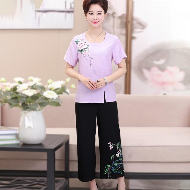 45-60岁妈妈阔腿裤套装,洋气又百搭,第4款65元质量最好