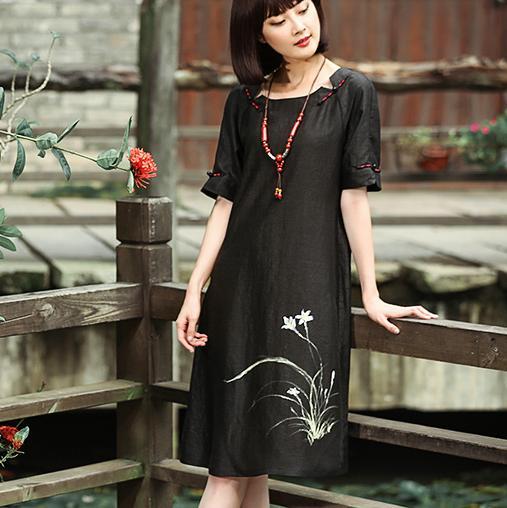 原创设计真丝香云纱连衣裙,让奔四奔五女人端庄雅致,显古典之美