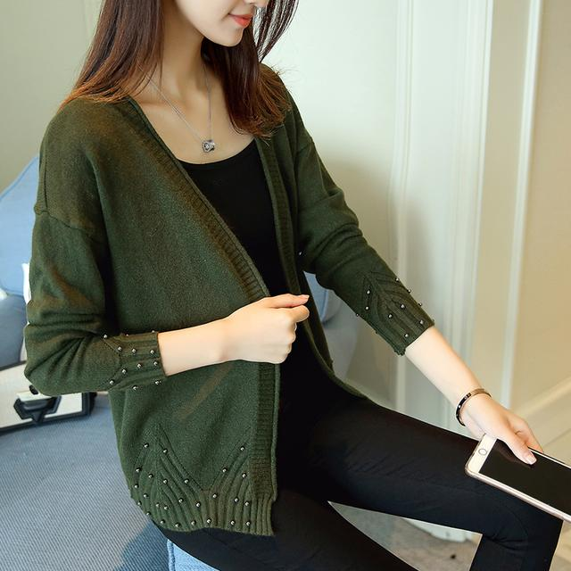 韩版女外套长袖钉珠针织开衫外搭毛衣潮优惠券