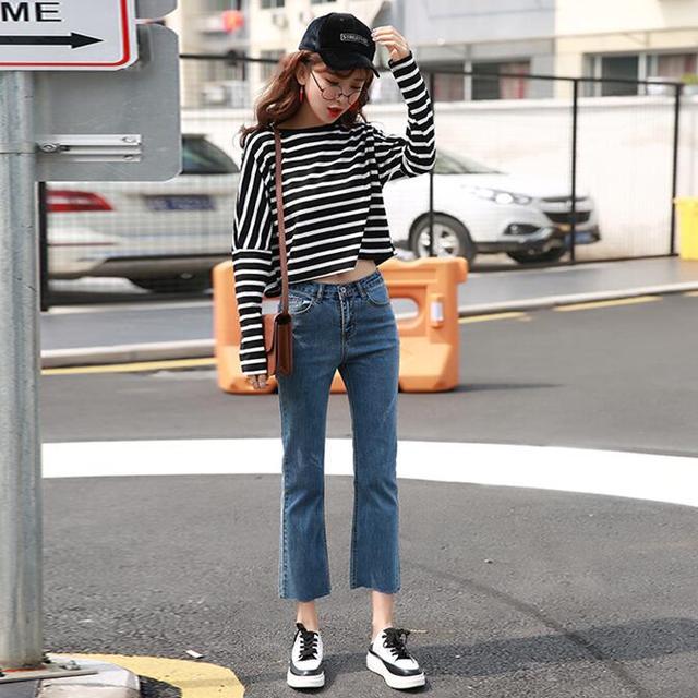 高腰加绒加厚牛仔裤女
