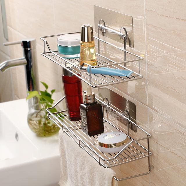 双庆吸盘式浴室不锈钢置物架