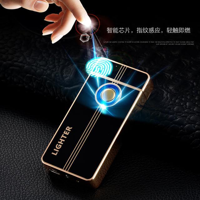指纹感应usb双电弧打火机