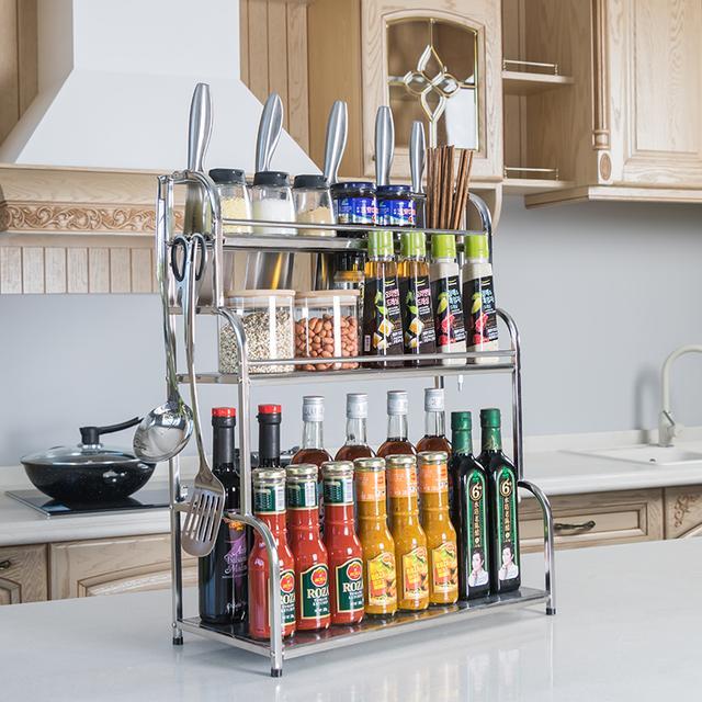 不锈钢厨房置物架落地多层收纳架