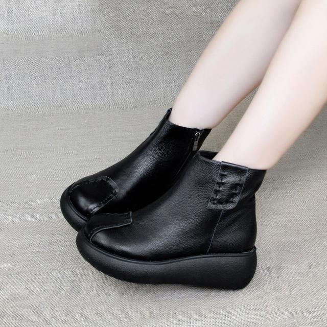 女靴手工牛皮厚底松糕短靴休闲软底马丁靴