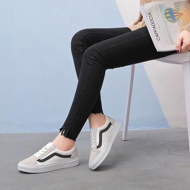 原宿风帆布小白鞋