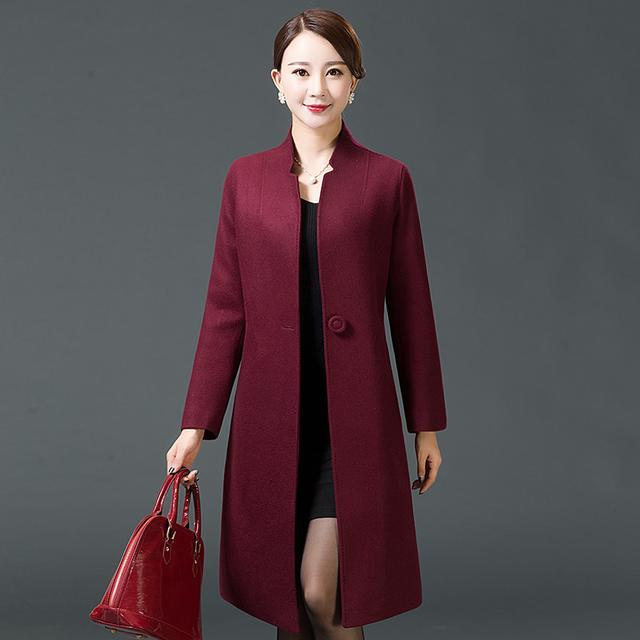 妈妈装羊毛大衣中长款中年羊毛呢外套优惠券
