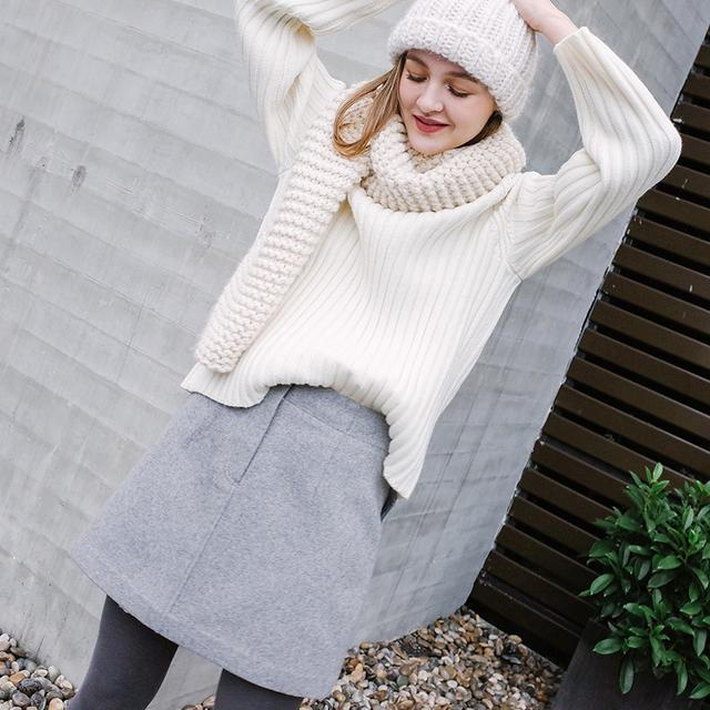 修身灰色可正反两穿式短A裙 RHW147优惠券
