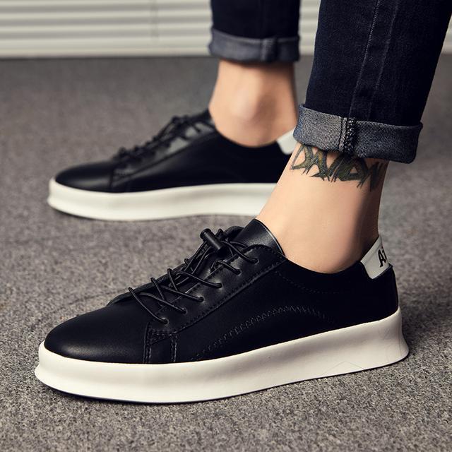 男鞋小白鞋时尚休闲鞋厚底板鞋皮面男鞋子优惠券