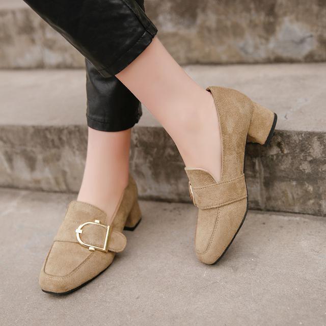 百搭坡跟鞋皮带扣磨砂女鞋子优惠券