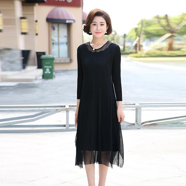 中年长袖妈妈装拼接假两件连衣裙服装XK23优惠券