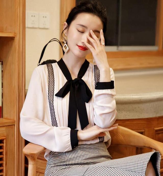 雪纺衬衫女春装2018新款长袖韩版宽松系带衬衣优惠券